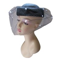 Classic Pill Box Hat in Black Straw with Black Veil White Flocking