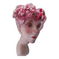 Church Hat Profusion of Pink & Rose Petals Eva Mae