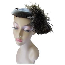 Tilt Hat Brown Velvet with Astounding Ostrich Feather Maurice L. Rothschild