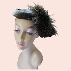 Tilt Hat Brown Velvet with Astounding Ostrich Feather Maurice L. Rothschild