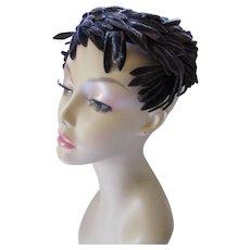 Circlet Hat Aubergine Velvet Feathers Mid Century