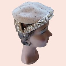 Mid Century Felt Half Hat in Beige with Beads & Faux Pearls Ruth McCulloch Made in France