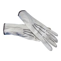 Kidskin Leather Gloves Cream with Black Accents
