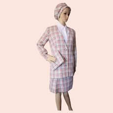 Mid Century Suit in Gray Plaid Wool Matching Newsboy Cap and Clutch Purse