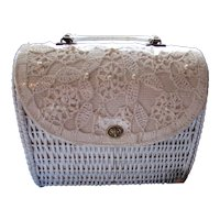 White Wicker Purse Crochet Fold Over Marcus Brothers Miami Made in Japan