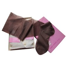 Vintage Nylons Royal Purple Hosiery Textured Design in Coffee Color Size 10 and 9 1/2 Original Box
