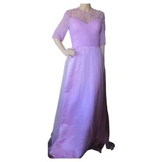 Evening Gown in Gorgeous Lavender Tulle and Satin with Beaded Yoke and Corset Tie Close