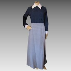 1970 Style Long Lounge Dress in Navy Cable Knit and Navy White Houndstooth Polyester Claire Larabee Size Medium