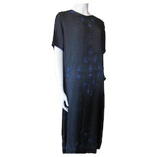1930 Art Deco Chiffon and Bead Dress in Black with Cobalt Seed Beads Geometric Design