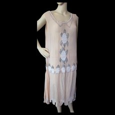 Flapper 1920's Beaded Dress in Peach Chiffon and Silver and White Beading