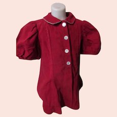 Cute Toddler or Large Doll Coat or Dress Cherry Red Corduroy