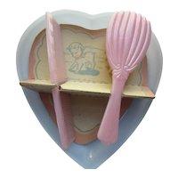 Child Pink Comb Brush Set Heart Shaped Box