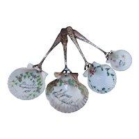 Four Antique Shell Souvenir Spoons Hand Painted