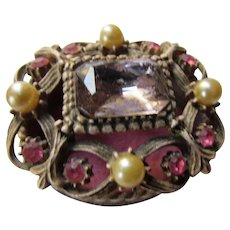 Ornate Florenza Ring Trinket Box with Faux Gems and Filigree Design