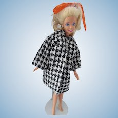 Barbie Heads Out in 1963 Skipper Red Dress and Black White Houndstooth Swing Coat Free Shipping USA