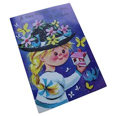 Cute 1970 Era Happy Birthday Card Little Girl and Cut Out House Sunshine Greeting Card
