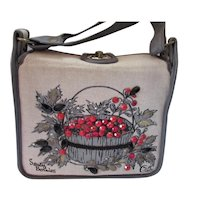 Enid Collins Savory Berries Gray Red Canvas Handbag
