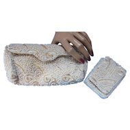 Set Vintage Evening Clutch and Cigarette Case Janet Sloane in Gold Thread and Faux Seed Pearls