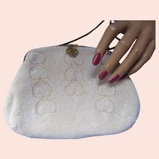 Formal or Wedding White Seed Bead Purse with Heart Design Belgium