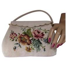 Pretty Purse Beaded & Needlepoint Rose & Blue Floral