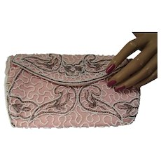 Pretty in Pink Evening Beaded Clutch Walborg Made in Belgium