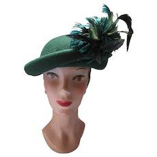 Pine Green Felt Hat Feather Spray Fall Winter Style