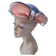 Mid Century Hat Straw Black with Terra Cotta Wings Pasadena Hats