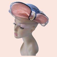 Mid Century Hat Straw Black with Terra Cotta Wings Pasadena Hats