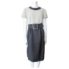 Chester Weinberg Office Style Dress in Fog Gray and Charcoal 1960's Label