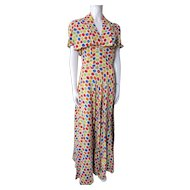 Fantastic 1940 Style Summer Long Sundress with Bolero in Bright Polka Dots