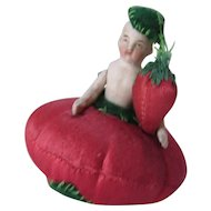 Adorable Pincushion Half Doll in Red Tomato and Green Felt Hat