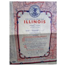 1935 Official Map of Illinois Highways See Illinois First Folding Map