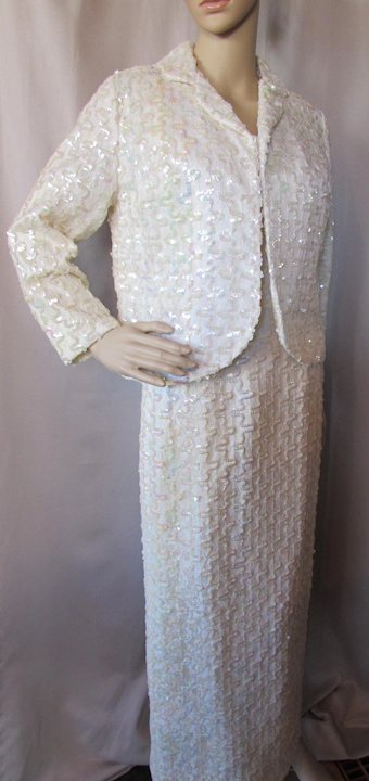 db9333b5 Sparkly Winter White Sequined Evening Gown with Jacket Lee Jordan ...