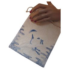 Asian Influence Drawstring Purse in Pebbled Oyster with Blue Embroidered Cranes