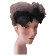 Unusual Vintage Cocktail Hat in Chestnut Brown Net and Black Satin and Velvet Bow Bonwit Teller