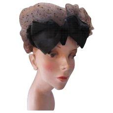 Unusual Vintage Cocktail Hat in Chestnut Brown Net and Black Satin and Velvet Bow Bonwit Teller