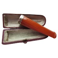 Amber Cigar or Cheroot Holder in Amber and Birmingham Sterling Adolf Frankau in Original Leather & Velvet Case