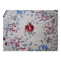 Rice Paper Napkins Year of the Rooster New Year Accessories Party Accessories Vintage Paper Goods Mid Century Red White Blue
