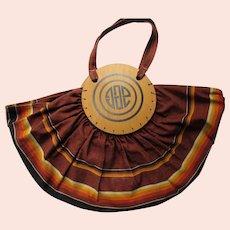 1940's Bonnie Bag Tote Striped Brown Orange with Wood Discs