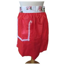 Cute Reversible Half Apron in Red Apples and Pink Blossoms