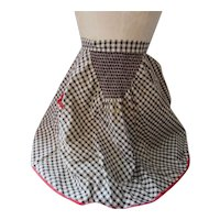 Cute Half Apron Black & White Smocked Gingham Red Accents