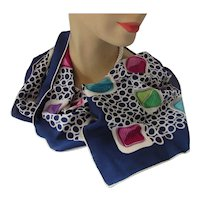 Oblong Scarf in Navy, Fuchsia, Purple and Lime