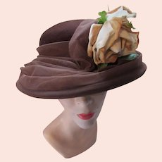 Lovely Wide Brim Hat in Coffee Brown Felt with Wide Net Large Cream Tone Rose Lucile Mendez