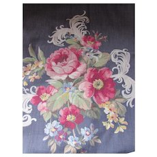 Vintage Floral Fabric Chair Cushion in Slate Blue Gray with Pink Roses White Feathers