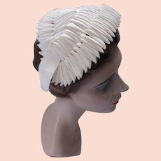 Mid Century Half Hat Cream Ribbon Chevron Pleated