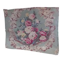 Pillow Cover Baroque Floral in Pinks and Green Heavy Weave