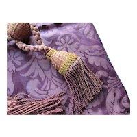 Baroque Brocade Pillow Top Matching Tie Backs in Deep Burgundy