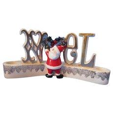 Christmas Ceramic Howard Holt Japan 1959 Santa Candle Holders NOEL