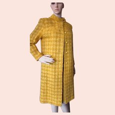 Mid Century Boucle Knit Coat & Dress in Mustard Domani Knits