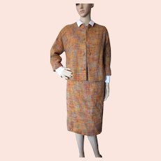 Handsome Jacket Skirt Set Boucle in Autumn Tones